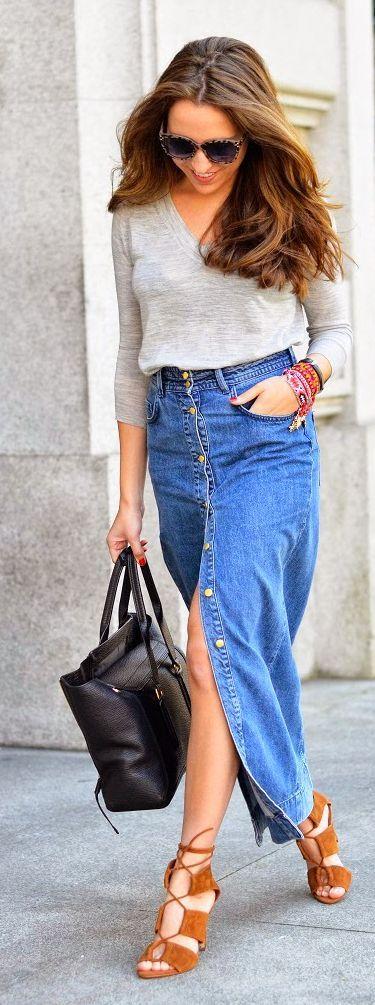 Maxi Denim Button Skirt Styling