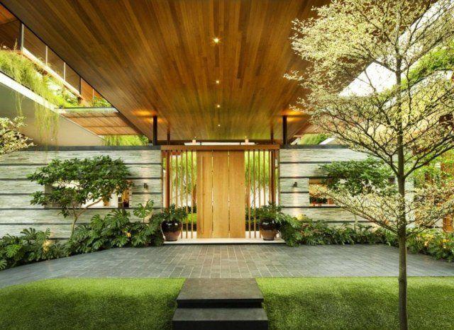 entre de maison avec toiture en bois avec spots encastrs - Maison Moderne Avectoiture