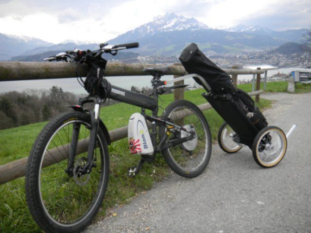 Golf Bike Trailer.    This type of system could be useful as the move towards cycling as a more efficient and environmentally friendly transport option continues to increase in popularity.    Golf venues will need to accommodate bike and equipment storage areas...