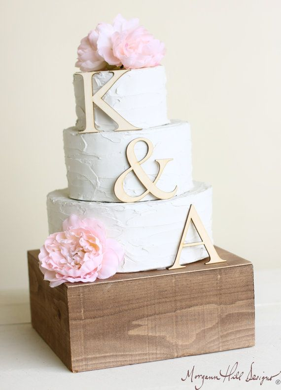 Personalized Cake Topper Wood Initials Rustic Chic Country  Barn Decor (Item Number 140303) NEW ITEM on Etsy, $22.50
