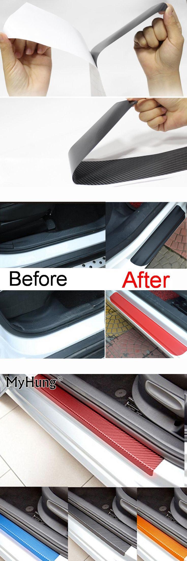 For Mitsubishi  ASX Lancer RVR 2011 2012 2013 2014 2015 car door sill scuff carbon fiber vinyl sticker Stickers 4pcs car styling