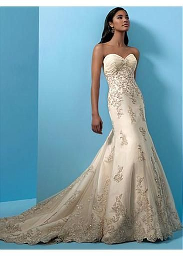 Image of Stunning Sheath Tulle & Satin With Lace Appliques Sweetheart Neckline Wedding Dress