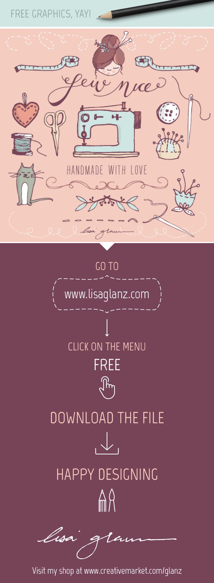 Visit http://www.lisaglanz.com to grab this adorable graphic set free!  #free #graphics #illustration #vector #design