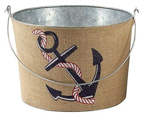 Mud Pie Sea Living Kitchen Bar Tin Party Beverage Tub Anchor