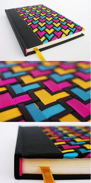 Beautiful woven ribbon journal cover