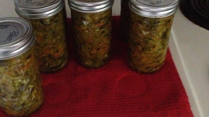 This classic zucchini relish has just a hint of dry mustard. Pint size jars make it an easy and inexpensive gift.