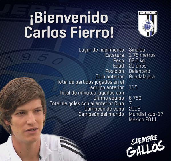 CARLOS FIERRO, NUEVO JUGADOR DE GALLOS BLANCOS Los Gallos Blancos anunciaron la incorporación del delantero Carlos Fierro proveniente de Chivas.