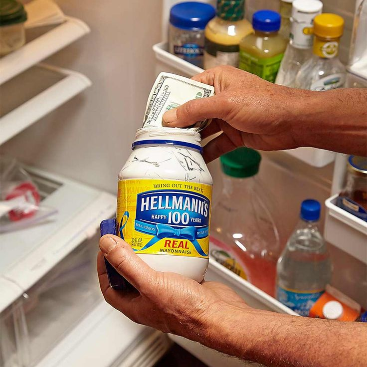 """Counterfeit Containers - Go online and type in """"secret hiding places"""" and you'll be amazed by how many brand-name phony containers are available. Comet, Coca-Cola, Bush Beans—whatever. But you can craft a homemade version too. This mayonnaise jar had its interior spray-painted with cream-colored paint for plastic."""