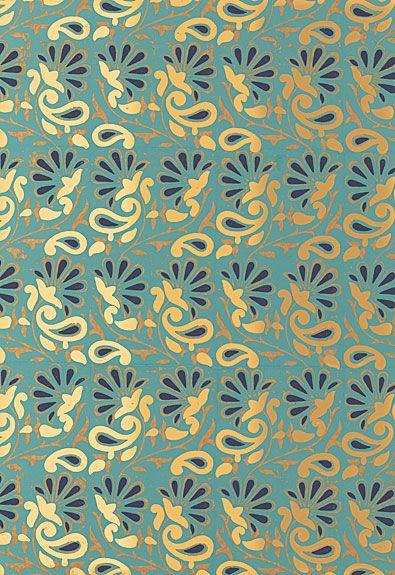 Rampura Schumacher Wallpaper in Turquoise & Gold // #turquoise #wallpaper