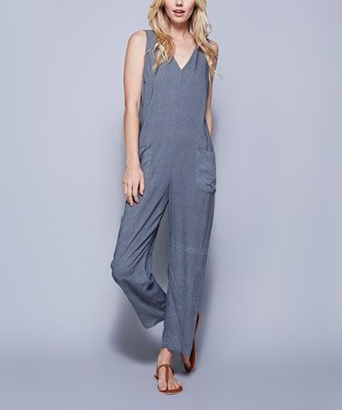 Love this Washed Slate Pocket-Accent V-Neck Jumpsuit on #zulily! #zulilyfinds