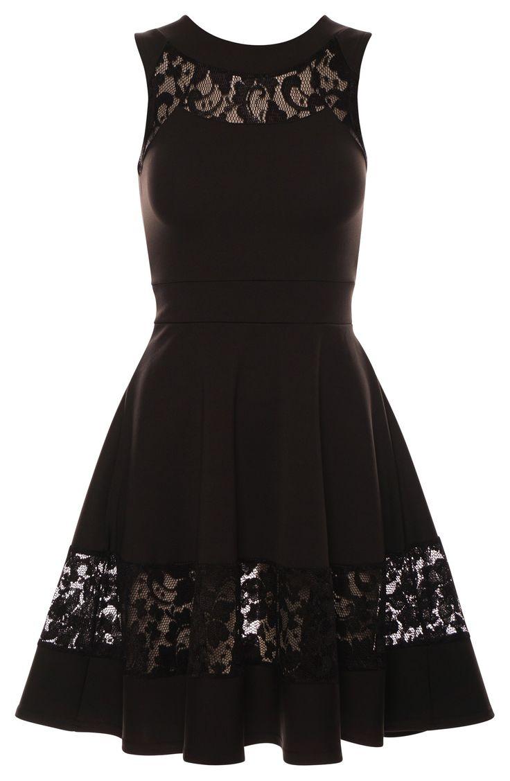 Kobieca sukienka czarna rozkloszowana z koronką
