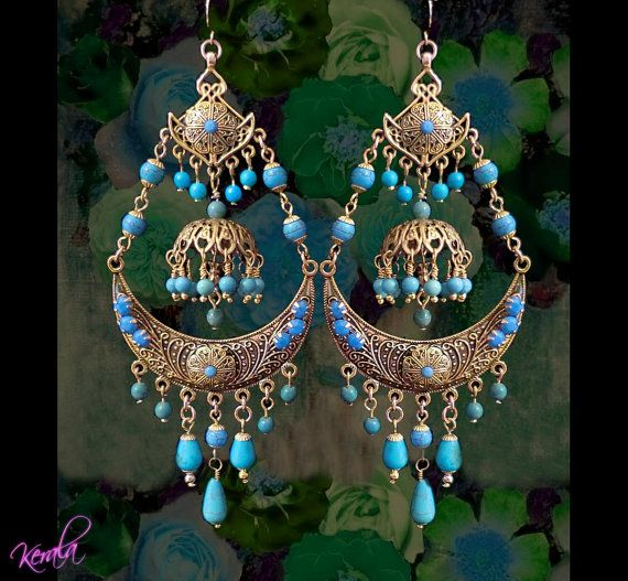 Exotic Turquoise Gemstone Gypsy Chandelier Earrings, Bollywood Indian Earrings, Ethnic Jewelry, Large Statement Earrings