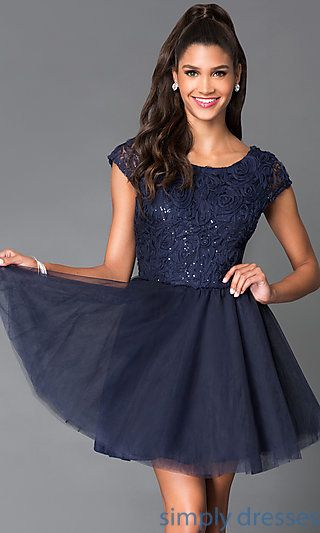 Cap Sleeve Party Dress 1954 with Lace Bodice at SimplyDresses.com