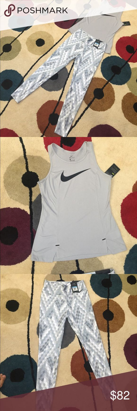 NWT NIKE TANK & TIGHTS SET Nike FIT SET BRAND NEW WTO!!  MRP: $115  Grey Tank  (MRP: $35) - SMALL Grey / White Tights(MRP: $80)  - MEDIUM  Price is firm !! NO TRADES  Very comfy and great for gym wear !!  Items not sold separately!! Nike Pants Leggings