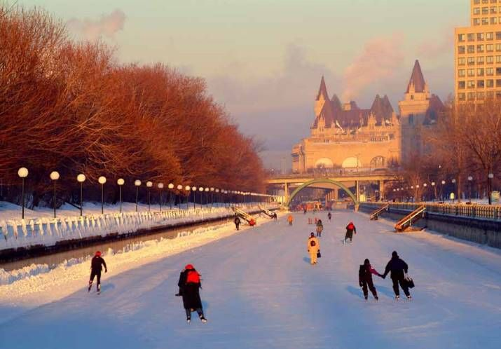 The Rideau Canal - Ottawa It's official! According to Guinness World Records, the world's largest naturally frozen ice rink is in Canada's backyard. Ottawa —that nation's capital — boasts an ice surface that's the equivalent to 90 Olympic-sized rinks.  Measuring in at a knee-wobbling 7.8 km long, the picture perfectRideau Canal Skateway winds past Canada's Parliament Buildings and the majestic Ch\âteau Laurier Hotel.