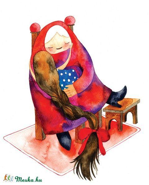 Az én drága nagymamám - Print (Akvarell), Képzőművészet , Baba-mama-gyerek, Dekoráció, Illusztráció, Meska