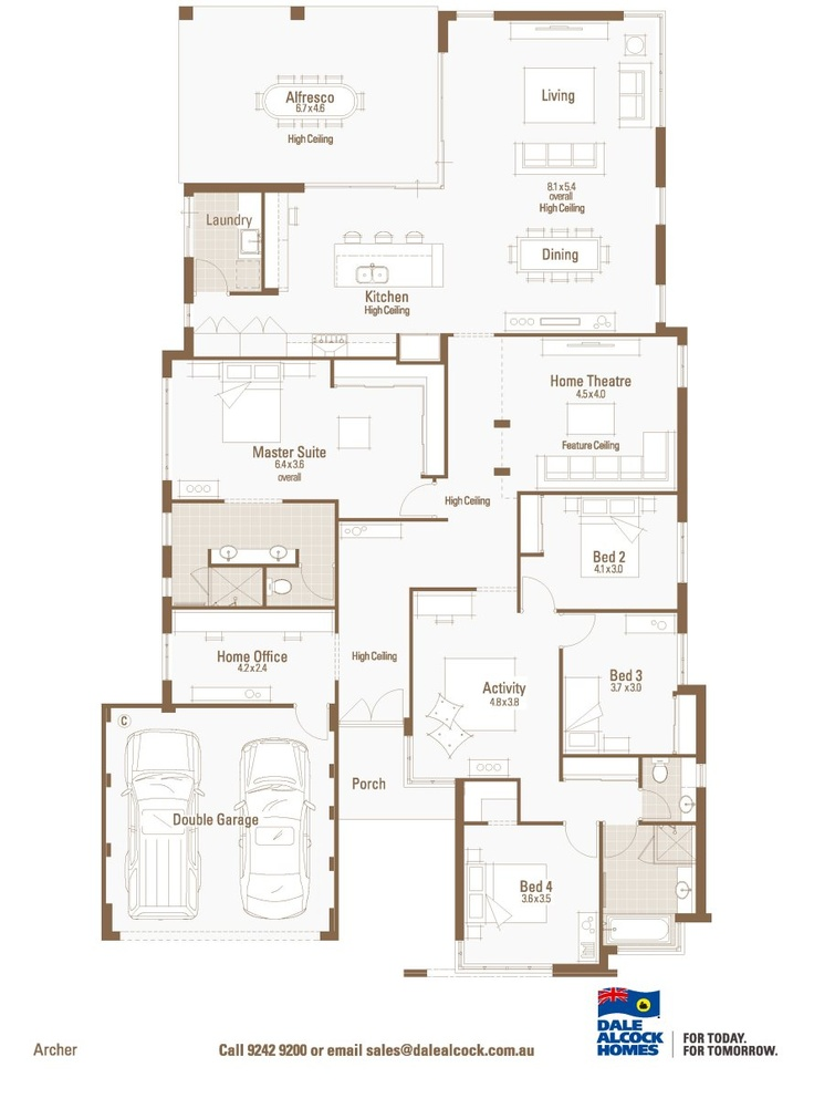 Archer floorplan dale alcock i realllllly like this one for Dale alcock home designs