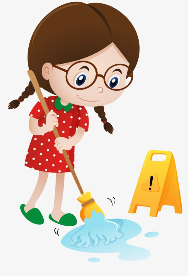 Floor Sweeper Child The Cartoon Sweep The Floor Png