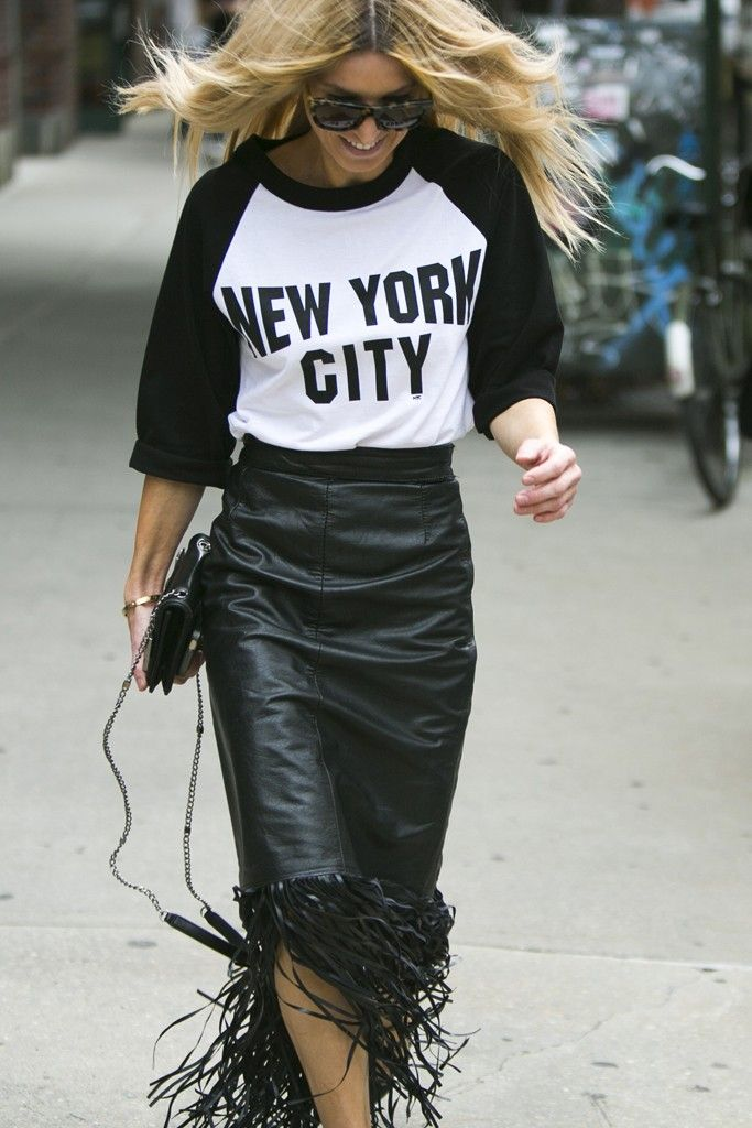New York Fashion Week street style. [Photo by Ryan Kibler]...this skirt is bad ass