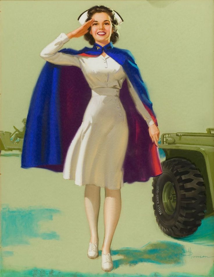 #nurse #WW2 #forties #1940s #vintage #painting #illustration #art #military