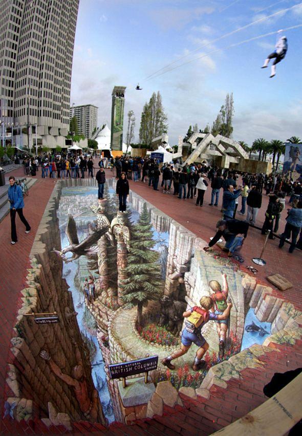 3-D Sidewalk Chalk art. I wish I were this man.
