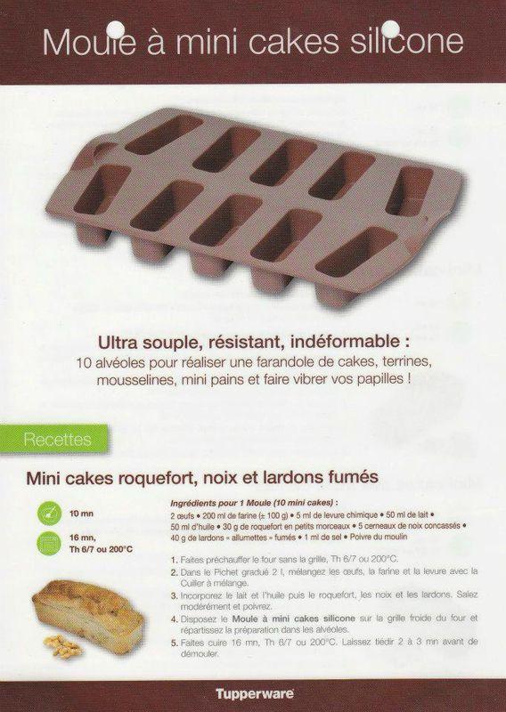 Fiche recette Moule à mini cakes 1/2 - Tupperware : Mini cakes roquefort noix et lardon fumé