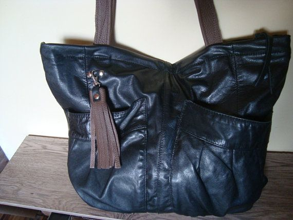 black recycled leather bag by BagsBand on Etsy
