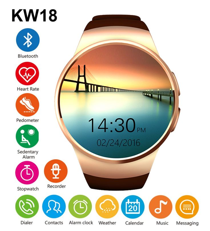 KW18 Bluetooh Smart Watch Heart Rate Monitor Support SIM TF Card Smartwatch for iPhone Samsung Huawei Gear S2 Android Smartwatch //Price: $59.05//     #gadgets