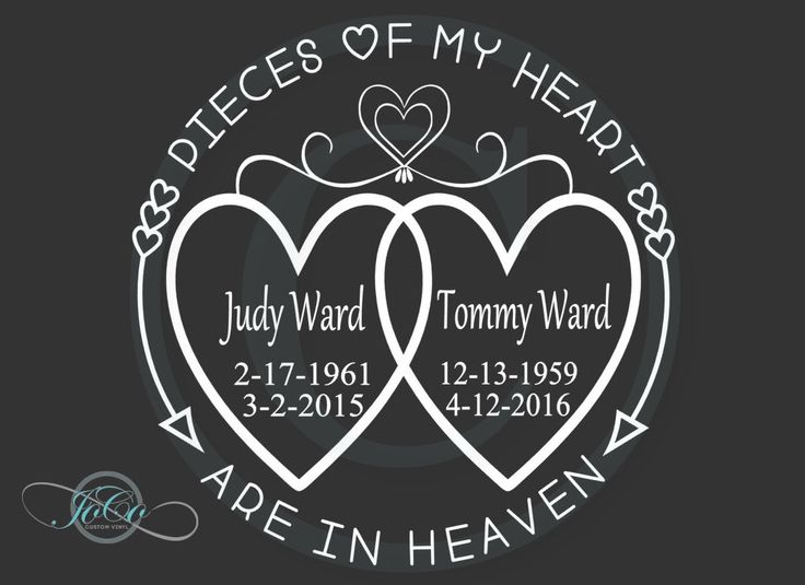 In loving memory of memorial vinyl personalized car decal pieces of my heart are in
