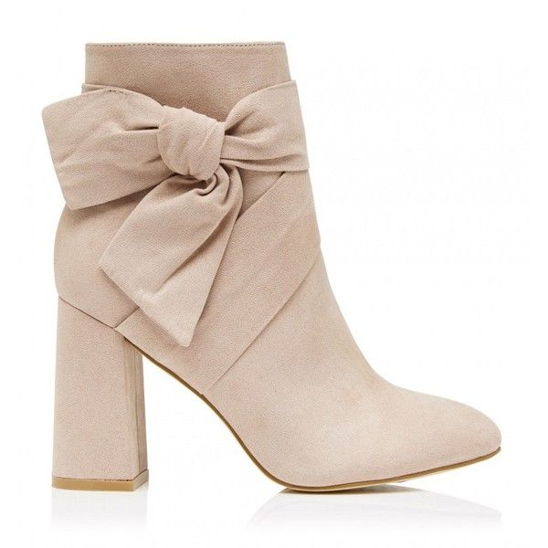 Bow Tie Ankle Boots (90 AUD) ❤ liked on Polyvore featuring shoes, boots, ankle booties, bootie boots, short boots, nude ankle boots, ankle boots and nude boots
