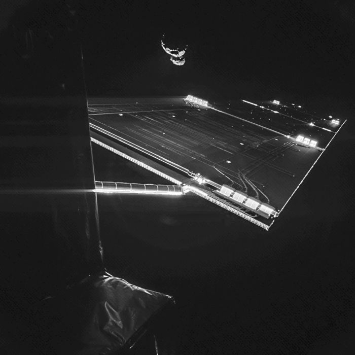Using the CIVA camera on Rosetta's Philae lander, the spacecraft have snapped a 'selfie' at comet 67P/Churyumov–Gerasimenko. The image was taken on 7 September from a distance of about 50 km from the comet, and captures the side of the Rosetta spacecraft and one of Rosetta's 14 m-long solar wings, with 67P/C-G in the background.