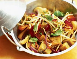 Laotian Eggplant with Tomatoes, Onion, and Mint Recipe   Vegetarian TimesMint Recipe, Healthy Meals, Fries Recipe, Vegetarian Time, Stir Fries, Eggplants Stirfry, Healthy Recipe, Laotian Eggplants, Food Recipe