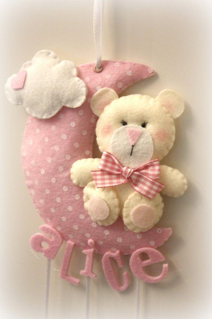 fiocco nascita luna a pois con orsetto ideale per la nascita del tuo bebè