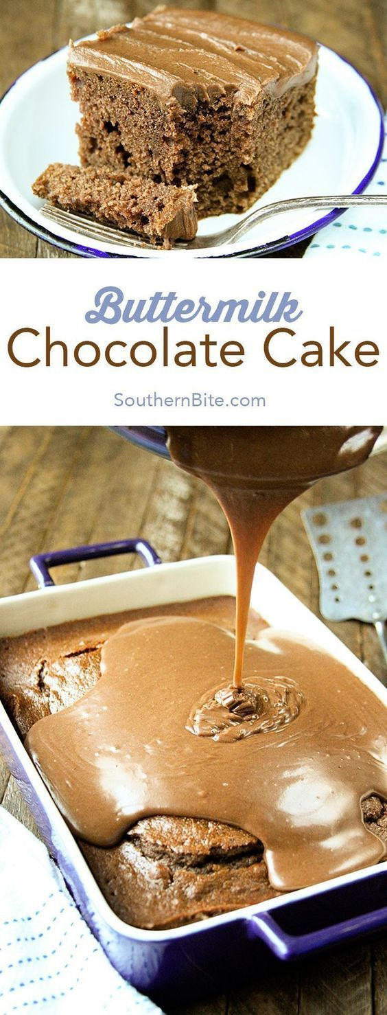 You won't find a more buttery, dense, delicious chocolate cake recipe than this Buttermilk Chocolate Cake! #easy #recipes #desserts #chocolate #cakes