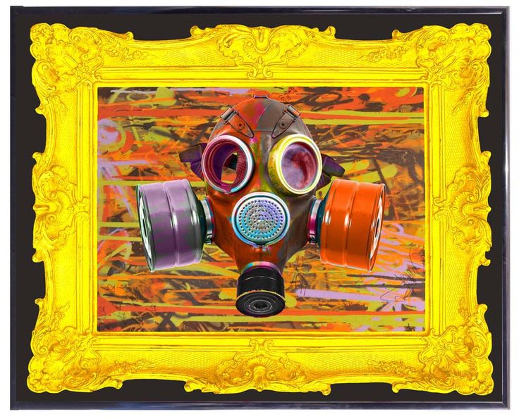 "Dominic Vonbern ""Gas Mask"" www.dominicvonbern.com 3MM acrylic panel UV print, spray marker and pen on canvas"