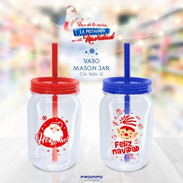 VASO MASON JAR promocional navidad. mercadeo marketing Vaso navideño