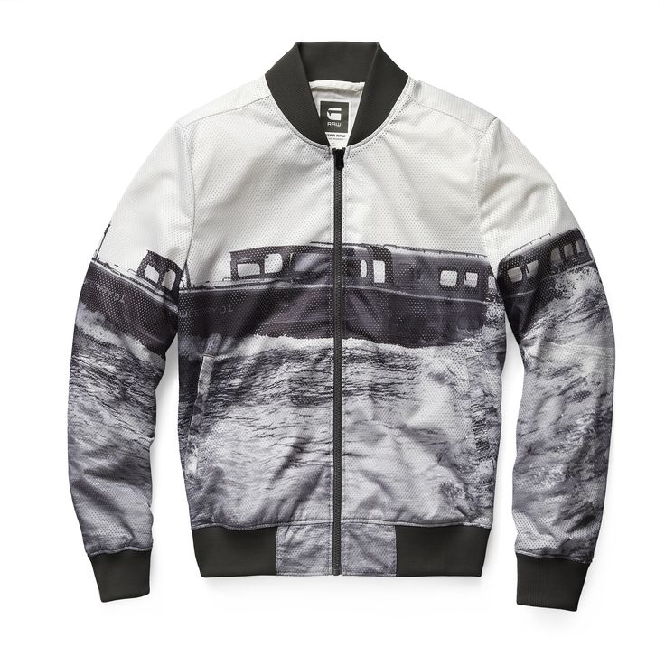 Lightweight mesh bomber with an all-over print of the G-Star RAW Ferry at sea. Hem and cuffs are ribbed for a classic bomber fit. www.g-star.com