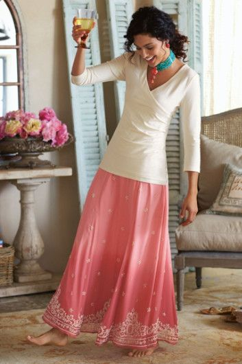 Bali Skirt - Ombre Skirt, Panel Skirt, Beaded Skirt | Soft Surroundings - It looks like a vacation
