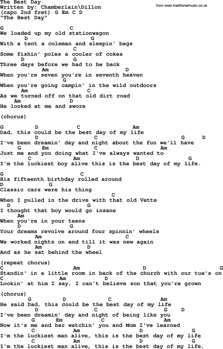 The Best Day, by George Strait   lyrics and chords   Lyrics and ...