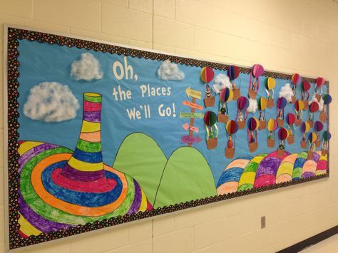 """I'm so proud of my bulletin board for Read Across America week! Oh the Places You'll Go by Dr. Seuss"" love the overall design of this board!"
