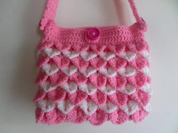 Little girls bag girls shoulder bag crocodile stitch. fully
