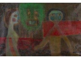 Nikolai Lehto: Aatami ja Eeva, 1971, öljy, 26x38 cm - Hagelstam A136