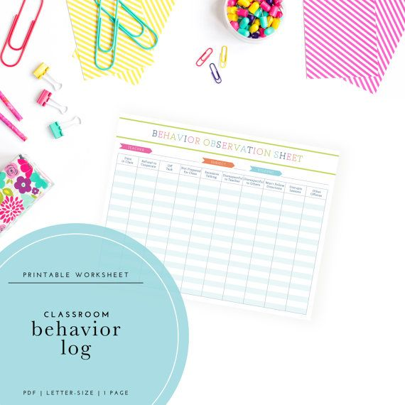 Printable Student Behavior Log / Classroom by TrewStudio on Etsy