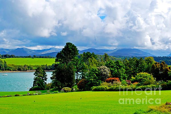 A beautiful view from Plas Newydd in Anglesey (Wales, UK) over the Menai Stait and Snowdonia.