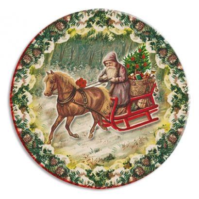 Santa and Sled Papier Mache Ball Box Ornament