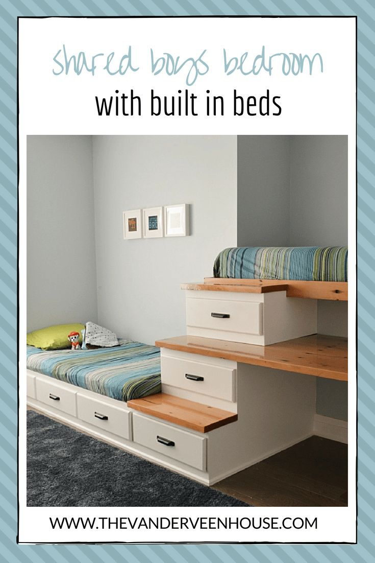 Shared boys bedroom makeover with built in beds #bunkbed #loftbed #reclaimedwood…