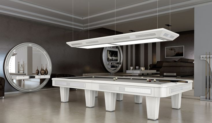 Vismara Design professional pool table in Art Deco style with silver foil decoration and professional pool table lamp.