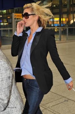 blue shirt, denim and a blazer