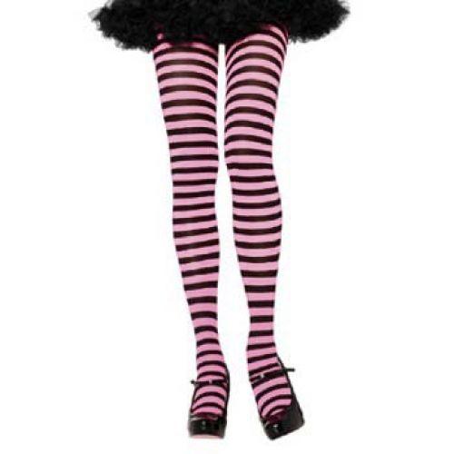 Striped Tights, Adult - Black/Light Pink: ClownAntics.com