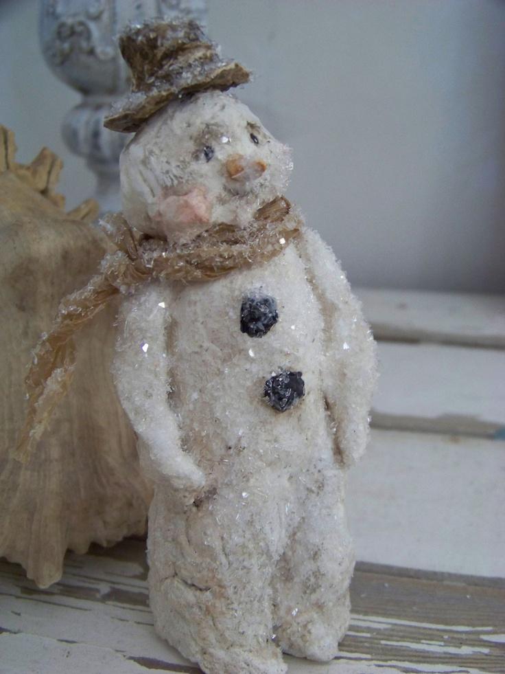 Sculpted Paper Mache Folk Art Winter Wonderland Snowman